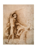 Young Man Fighting the Dragon, Late 15th Century Giclee Print by Andrea Mantegna