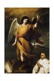 Archangel Raphael with Bishop Domonte, 17th Century Giclee Print by Bartolomé Esteban Murillo