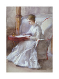 A Woman in White Writing at a Desk, C1864-1930 Giclee Print by Anna Lea Merritt