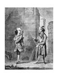 A French Petit Maitre and His Valet, Late 18th Century Giclee Print by Charles Grignion