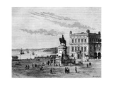 Commerce Square, Lisbon, Portugal, 19th Century Giclee Print by Charles Barbant