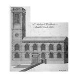 Exterior View of St Andrew by the Wardrobe, City of London, C1750 Giclee Print by Benjamin Cole