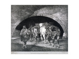 Entrance to the Adelphi Wharf Showing Work Horses and Two Men, Westminster, London, C1850 Giclee Print by Charles Joseph Hullmandel
