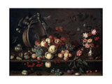 Still Life with Fruits, Flowers and Parrots, 1620S Giclee Print by Balthasar van der Ast