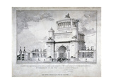 Design for a Triumphal Arch at Hyde Park in Commemoration of the Victory at Waterloo in 1815, 1826 Giclee Print by Charles Joseph Hullmandel