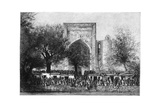 An Assembly before the Mosque in Bukhara, Uzbekistan, 1895 Giclee Print by Armand Kohl