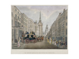 The Cambridge Coach Leaving the Nelson Inn, Belle Sauvage Yard, Ludgate Hill, London, 1818 Giclee Print by Charles Joseph Hullmandel