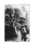 Vachere Au Bord De L'Eau, (Cowherd Beside Wate), C1850-1900 Reproduction procédé giclée par Camille Pissarro