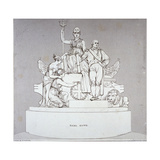 Monument to Earl Howe, Sculpted by J Flaxman, St Paul's Cathedral, City of London, 1818 Giclee Print by Charles Heath