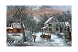 American Homestead in Winter, 1868 Giclee Print by  Currier & Ives