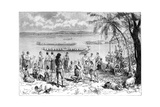 Boat Racing on the Mekong, 1895 Giclee Print by Charles Barbant