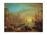 Claude Lorrain - Seaport at Sunset, 1639 - Giclee Baskı