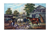 American Farm Yard in the Morning, 1857 Giclée-tryk af Currier & Ives,