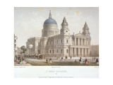 North-West View of St Paul's Cathedral with Figures Walking in Front, City of London, 1854 Giclee Print by Christopher Wren