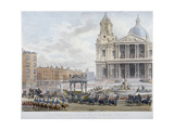 Funeral Procession of Lord Nelson Outside St Paul's Cathedral, City of London, 1806 Giclee Print by Christopher Wren