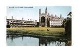 King's and Clare Colleges, Cambridge, Cambridgeshire, Early 20th Century Giclee Print by E Dennis