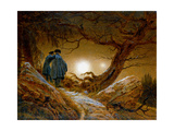 Two Men Contemplating the Moon, C1825-1830 Gicléedruk van Caspar David Friedrich