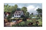 American Homestead in Summer, 1868 Giclee Print by  Currier & Ives