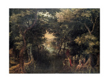 Landscape with the Apostle Philip Baptizing the Eunuch, (1590-1632) Giclée-Druck von David Vinckboons