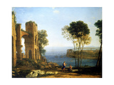 Coast View with Apollo and the Cumaean Sibyl, Between 1645 and 1649 Stampa giclée di Claude Lorrain