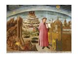 Dante and the Divine Comedy' (The Comedy Illuminating Florenc), 1464-1465 Giclée-tryk af Domenico di Michelino