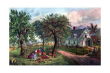 American Homestead in Autumn, 1869 Giclee Print by  Currier & Ives