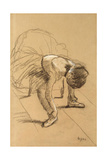 Seated Dancer Adiusting Her Shoes, C1876 Giclee Print by Edgar Degas