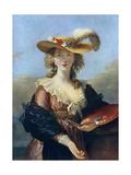 Self Portrait in a Straw Hat, C1782 Giclée-Druck von Elisabeth Louise Vigee-LeBrun