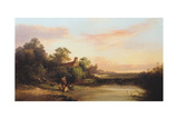 English Landscape with Cottage and Stream, 1860 Giclee Print by Edward Charles Williams