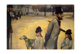 Place De La Concorde, (Viscount Lepic and His Daughters Crossing the Place De La Concord), 1875 Giclee Print by Edgar Degas