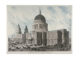 South-East View of St Paul's Cathedral with Figures and Carriages Outside, City of London, 1818 Giclee Print by Daniel Havell