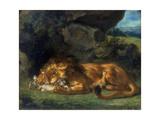 Lion Devouring a Rabbit, 19th Century Giclee Print by Eugène Delacroix