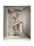 Interior View of the Staircase in Surrey Theatre on Blackfriars Road, Southwark, London, 1810 Giclee Print by Clarkson Stanfield