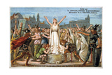 Saint Genevieve Promises to Save Lutece, Middle Ages. 19th Century Giclee Print by Eugène Delacroix