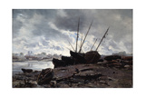 Boats Waiting for the Tide, 1882 Giclee Print by Emmanuel Lansyer