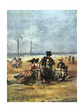 On the Beach, (Detail), 1880 Giclee Print by Eugene Louis Boudin