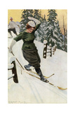 Woman Skiing, Late 19th or Early 20th Century Giclee Print by Ernst Platz
