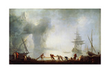 Dawn over Capri. Mist, C1745 Giclee Print by Claude-Joseph Vernet