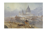 View of Blackfriars Bridge and St Paul's Cathedral, London, 1840 Giclee Print by David Roberts