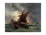 Ships in a Stormy Sea, 19th Century Giclee Print by Eugène Delacroix