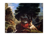 Lion Hunt in Morocco, 1854 Reproduction procédé giclée par Eugène Delacroix