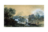 Landscape with a Waterfall, Italian Painting of 18th Century Giclee Print by Francesco Zuccarelli