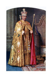 George VI in Coronation Robes: the Golden Imperial Mantle, with St Edward's Crown, 1937 Giclee Print by Fortunino Matania