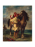 A Moroccan Saddling His Horse, 1855 Giclee Print by Eugène Delacroix