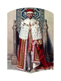 George VI in Coronation Robes: the Crimson Robe of State, with the Cap of Maintenance, 1937 Giclee Print by Fortunino Matania