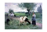 The Well Guarded Cow, 1890 Giclee Print by Edouard Bernard Debat-Ponsan