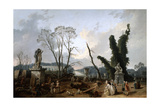 View of the 'Tapis Vert' in Versailles, 19th Century Giclee Print by Fanny Robert