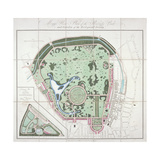 Plan of the Zoological Gardens, Regent's Park, St Marylebone, London, 1828 Giclee Print by Edward Mogg