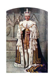George VI in Coronation Robes: the Robe of Purple Velvet, with the Imperial State Crown, 1937 Giclee Print by Fortunino Matania