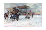Ground Crew Attending to a French Spad on a Snow-Covered Field, 1918 Giclee Print by Francois Flameng